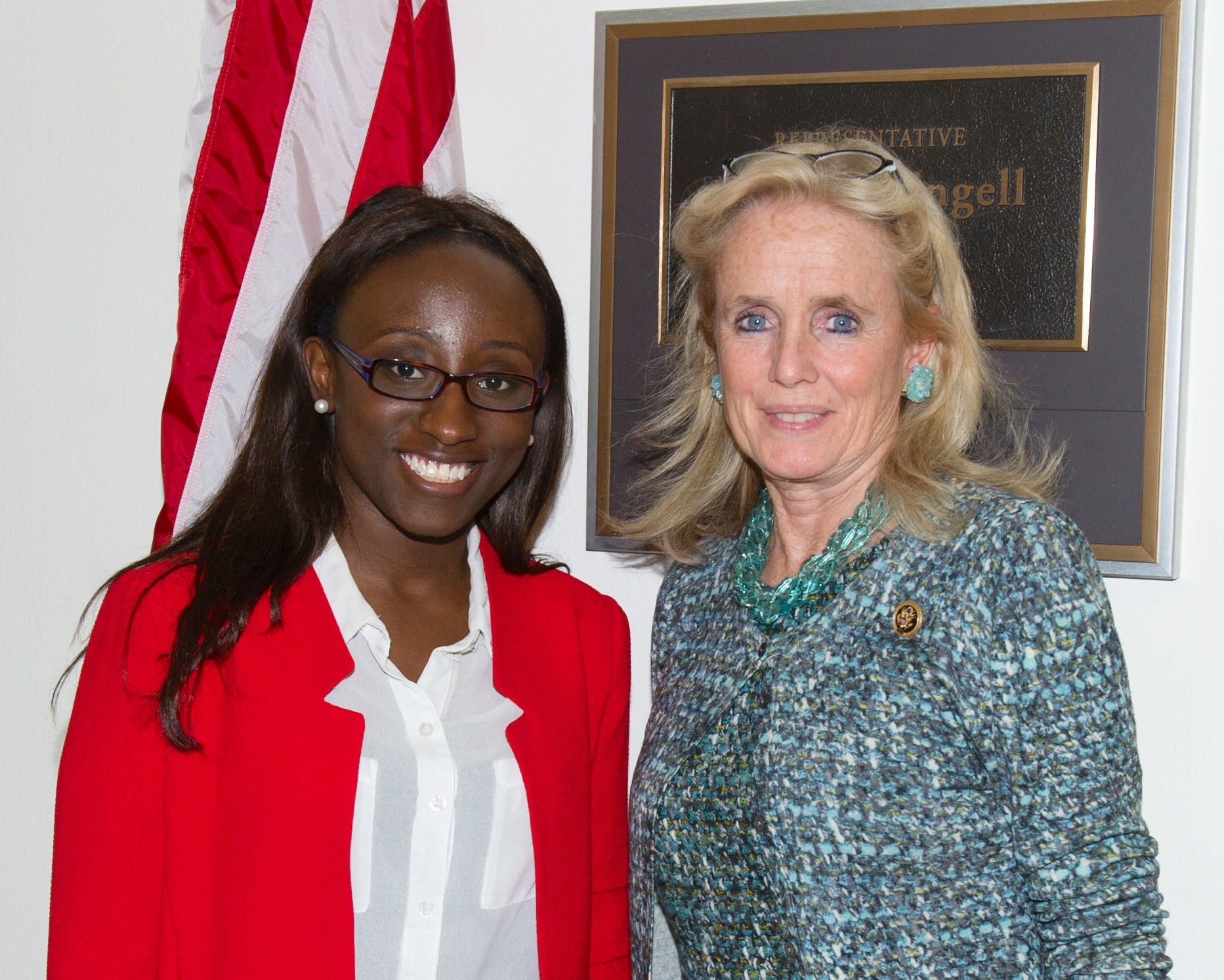 Rep Dingell with her intern